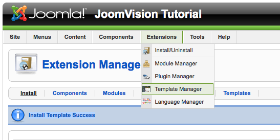 joomla templates manager