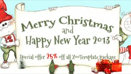 Merry Christmas and Happy New Year 2013 special offer 25% off all ZooTemplate packages