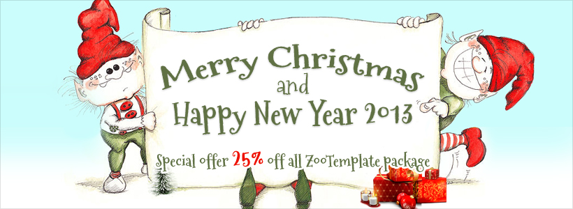 Merry Christmas and Happy New Year 2013 special offer 25% off