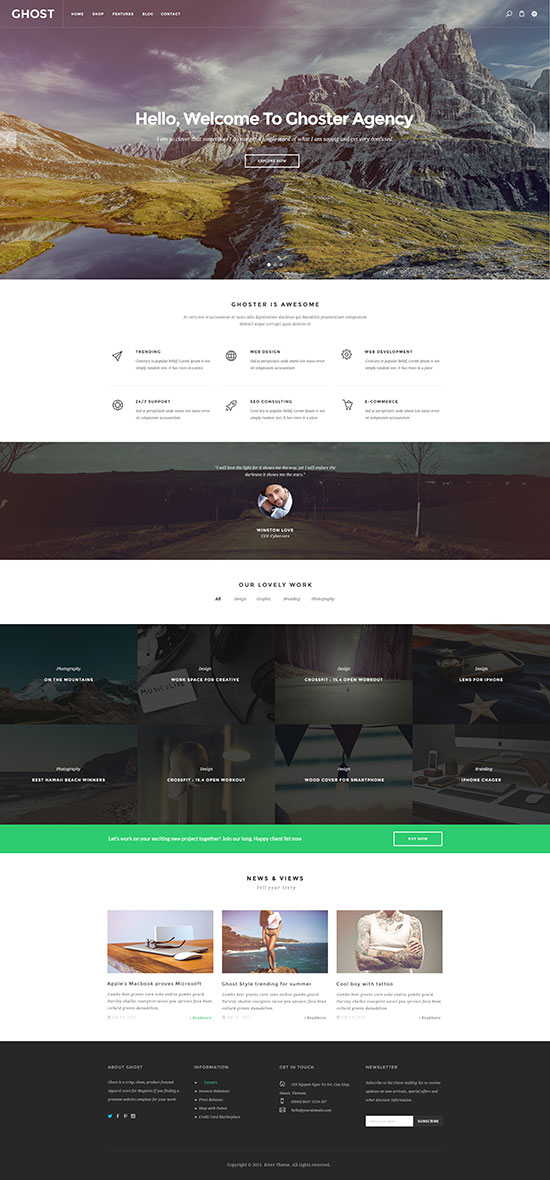 Multi purpose Responsive joomla template ZT Ghoster